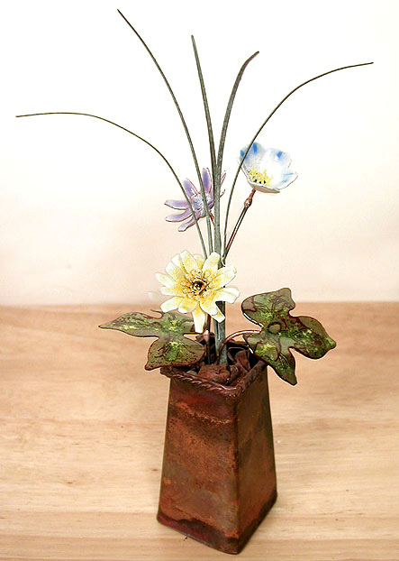 Fp42 Yellow Aster With Blue Flax Copper Pot Tabletop