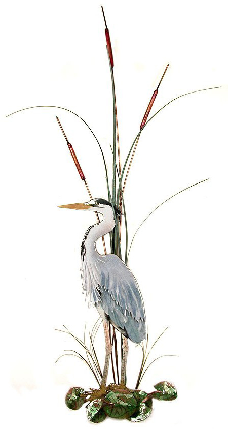 W365l Bovano Large Great Blue Heron With Cattails Facing Left Wall Hangings Metal Art Artisan House Nature Glass Figures