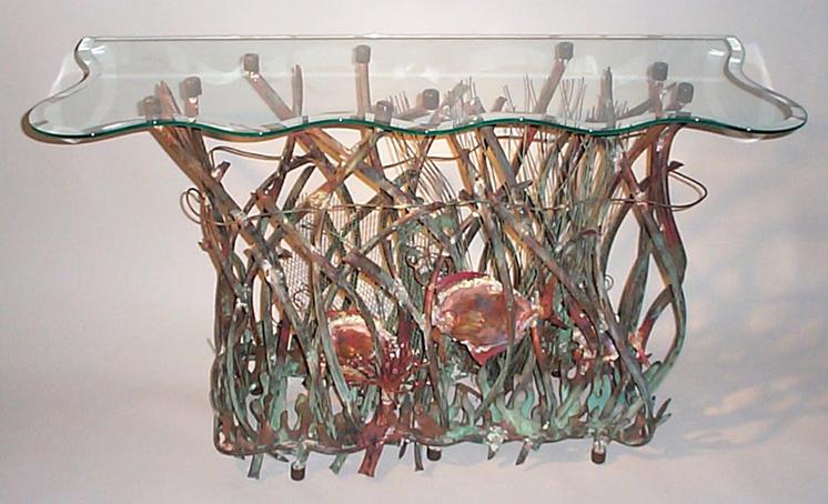 Aquarium Console Table Base Sculpture Metal Art Aquarium