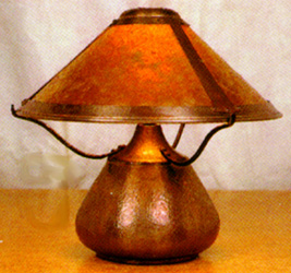 Mica lamps beanpot table lamp 007 also available hand hammered copper finish mozeypictures Image collections