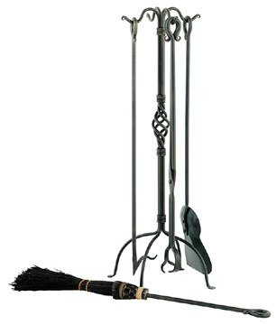 Basketweave Fire Tool Set/ Black Broom