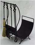 all in one forged iron fireplace set
